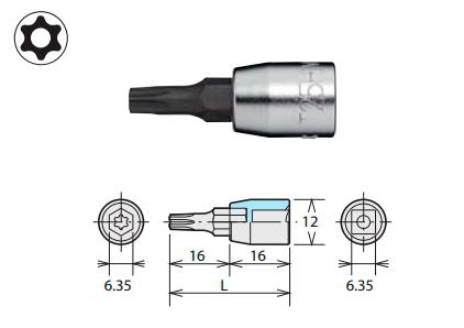 Наконечник для бит TORX T-типа (SQ 6,35 мм)
